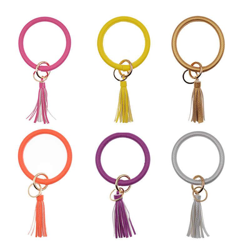 Chegada nova Tassel PU Couro O Chaveiro Grande Círculo Pulseira Chaveiro de Ouro Para As Mulheres ou Homens Suporte Chave Da Moda jóias