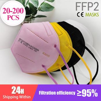 20-200 sztuk FFP2 Mascarillas CE maska czarny KN95 maska 5 warstw maska KN95 filtr Respirator różowy dorośli KN95 filtr ffp2mask tanie i dobre opinie IMDK Z Chin Kontynentalnych EN 149-2001 + A1-2009 Z włókniny