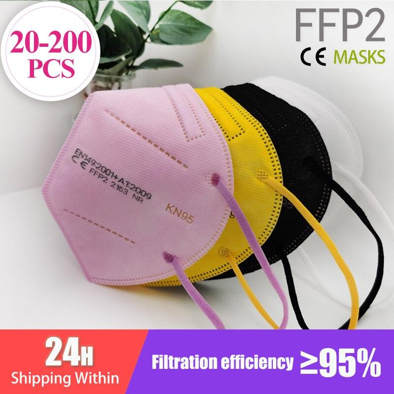 20-200PCS FFP2 Mascarillas CE Mask Black KN95 Mask 5 Layers Face Mask KN95 Filter Respirator Pink Adults KN95 filter ffp2mask
