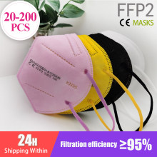 20-200PCS FFP2 Mascarillas CE Mask Black KN95 Mask 5 Layers Face Mask KN95 Filter Respirator Pink Adults KN95 filter ffp2mask