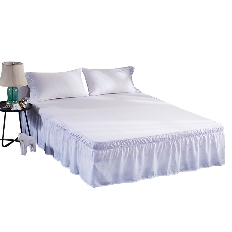 Hotel Bed Skirt White Bed Shirts Without Surface Elastic Band Single Queen King Easy On/Easy Off Bedroom Decoration Home Decor