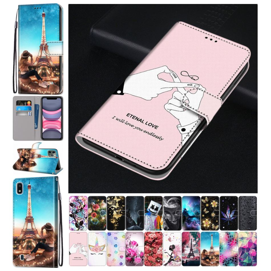 Cute Leather Phone Bag For Cover Huawei <font><b>Honor</b></font> 6A 6C Pro 7X 7S <font><b>Honor</b></font> 8S 8C <font><b>8X</b></font> Play 8A Y6 Prime 2018 Y9 Prime 2019 Floral Box D08F image
