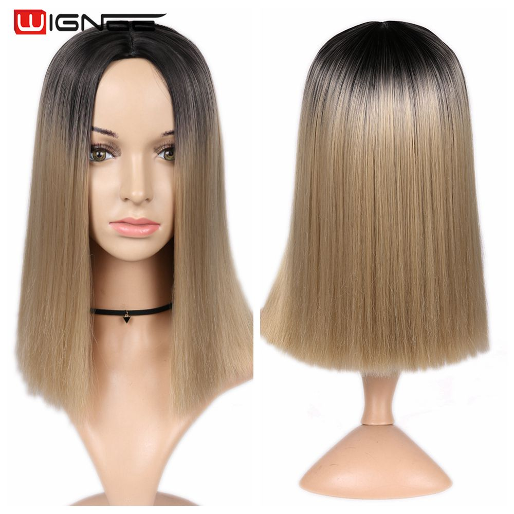 H3bfddb670e1c4abbadb229d13f6b31f3V - Wignee 2 Tone Ombre Brown Ash Blonde Synthetic Wig for Women Middle Part Short Straight Hair High Temperature Cosplay Hair Wigs
