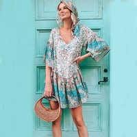 TEELYNN Boho dress for women rayon Floral print hippie short Dresses o-neck flare sleeve loose summer dress mini dress Vestidos