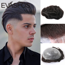 Парик мужской из натуральных волос EVASFOS, полный капиллярный протез из искусственной кожи, индийские человеческие волосы, прозрачный головн...