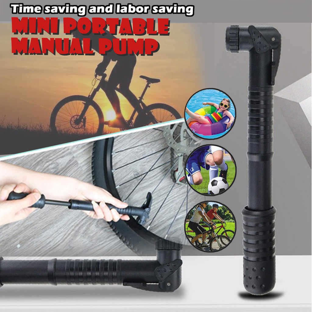 MINI BICYCLE AIR PUMP Bike Hand Ball Inflator Portable Cycling Tyre Aluminium