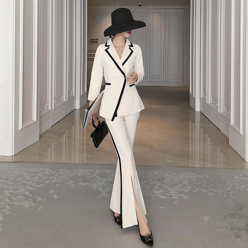 Temperament Women's Suit 2019 Korean Autumn Slim Long Sleeve Women's Jacket Blazer Fashion Casual Flared Pants Two-piece