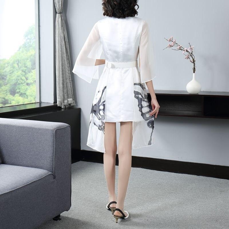 Подиум 2019 Осень Зима Новая мода Белое Женское платье зубчатый двубортный жилет сшивание мини платье Офисная Леди - 2