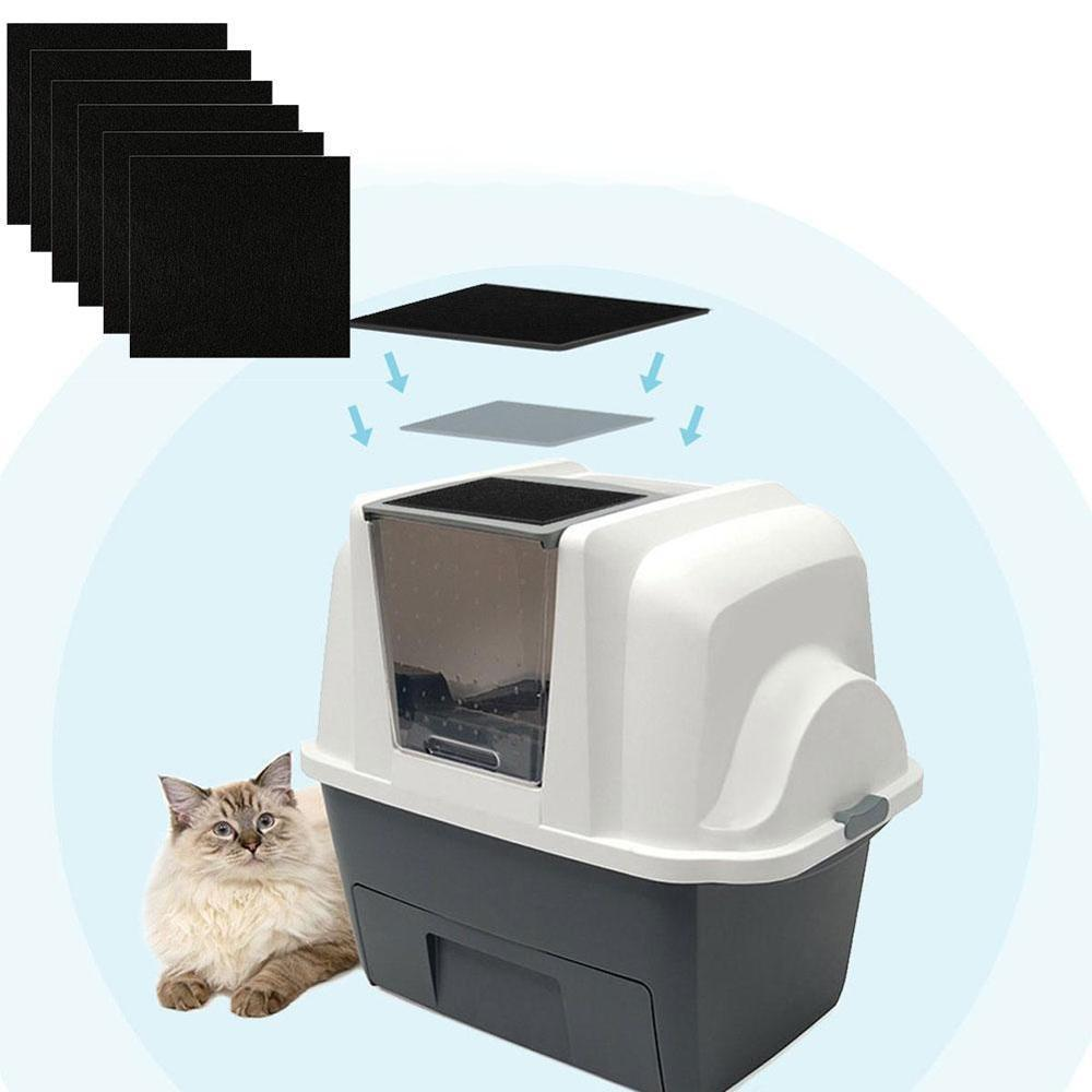 Charcoal Cats Litter Box Replacment Hooded Cats Litter Boxes Pans Carbon Odor Filters