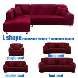 Image 5 - Fundas de sofá de color sólido para sala de estar, cubiertas elásticas de material elástico, funda completa para sofá, asiento doble, tres asientos