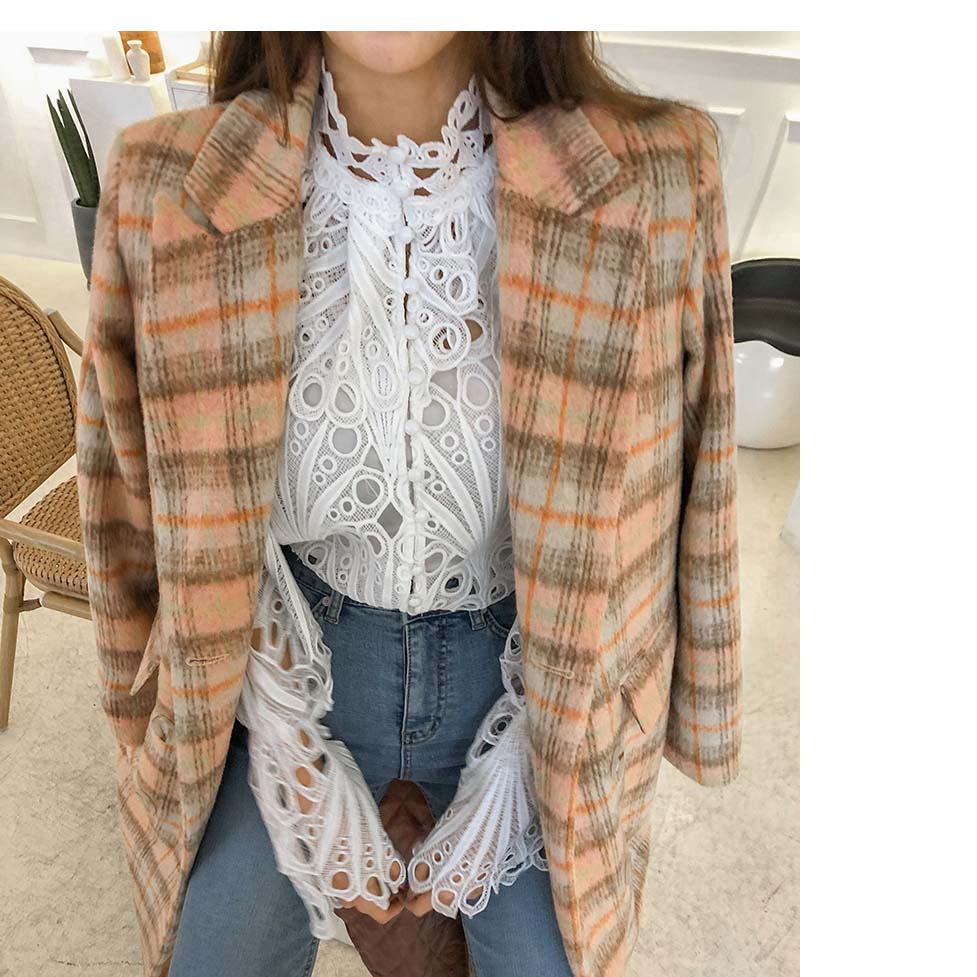 H3bfe4c6b393f491599e670723cbb8acaF - Spring / Autumn Stand Collar Flare Long Sleeves Hollow Out Blouse with Tank Top