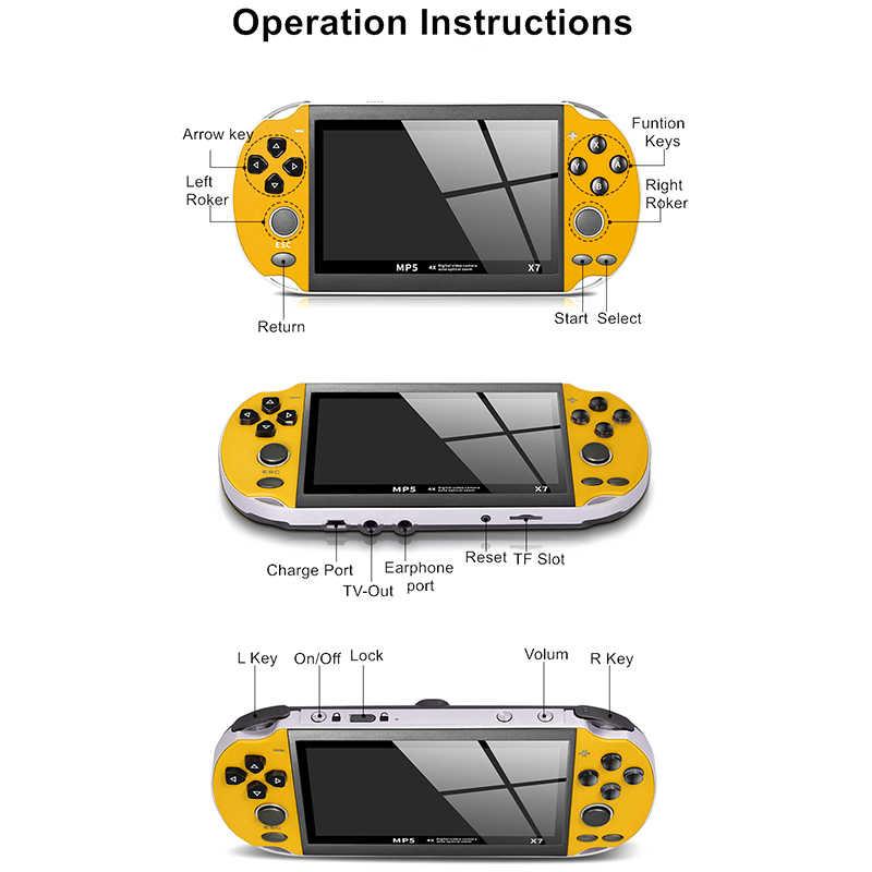 X7 consola de juegos 8GB multifunción entretenimiento USB plástico recargable Dual Rocker regalos cámara de Video portátil de 4,3 pulgadas