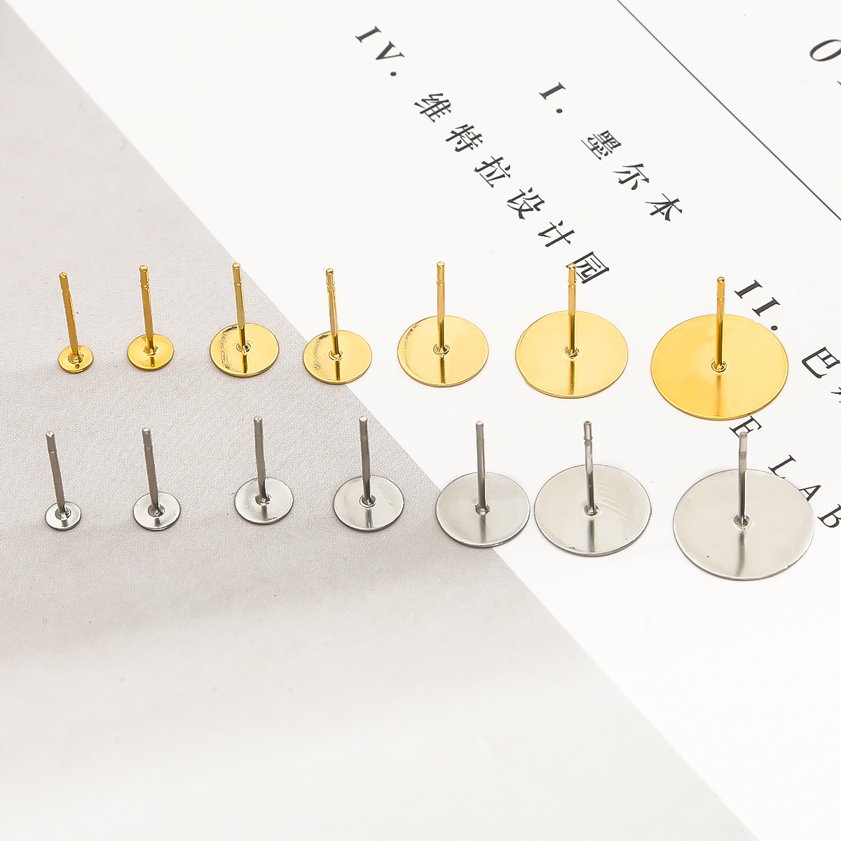 Пустая основа для сережек-гвоздиков из нержавеющей стали для кабошона размером 3, 4, 5, 6, 8, 12 мм, 100 шт., аксессуары для изготовления ювелирных и...