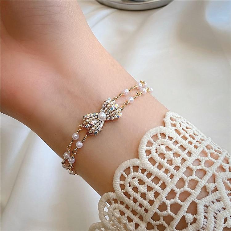 Korea New Design Fashion Jewelry Sweet Bowknot Crystal Pearl Bracelet Sweet Student Women's Daily Bracelet Accessories