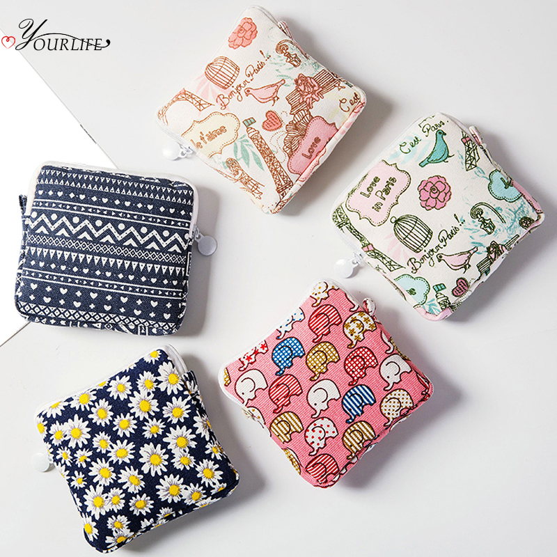 OYOURLIFE Cute Cartoon Sanitary Pad Pouches Portable Dust-proof Tampon Storage Bag Makeup Lipstick Key Coin Zipper Bag Organizer