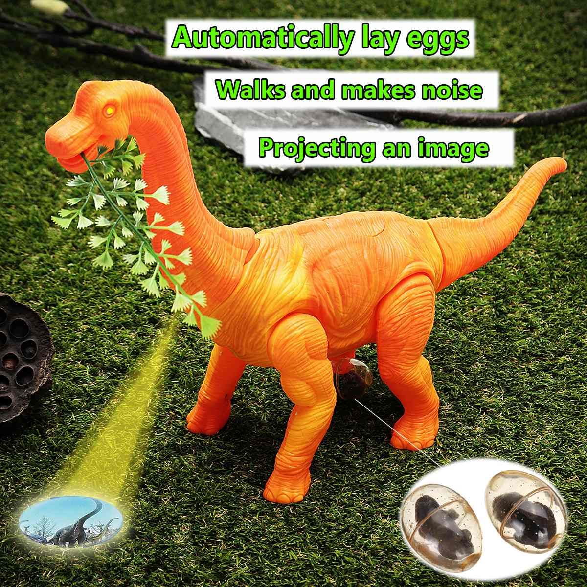 Electric Dinosaur Toy For Kids Walking Brachiosaurus Dinosaur With Light Sound Lay Eggs Function Glowing Interactive Model Toy