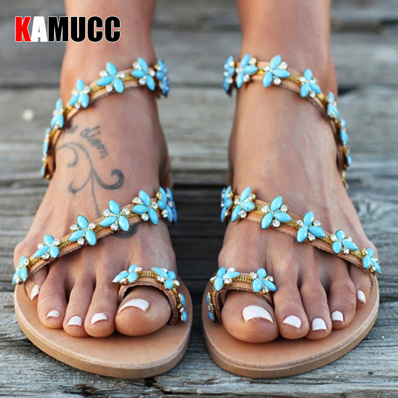 Summer Flat Sandals Sweet Boho Pearl Decoration Sandals Women Beach Sand Holiday Shoes Leather Flats Plus Size
