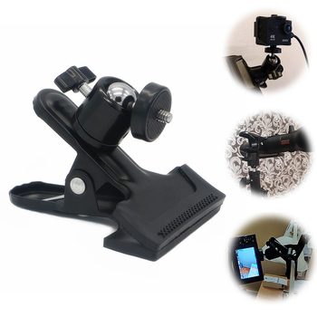 цена на Universal Photography Light Stand Clip Camera Holder Metal Grip Clamp Mount with Standard Ball Head 1/4 Screw For Studio Camera