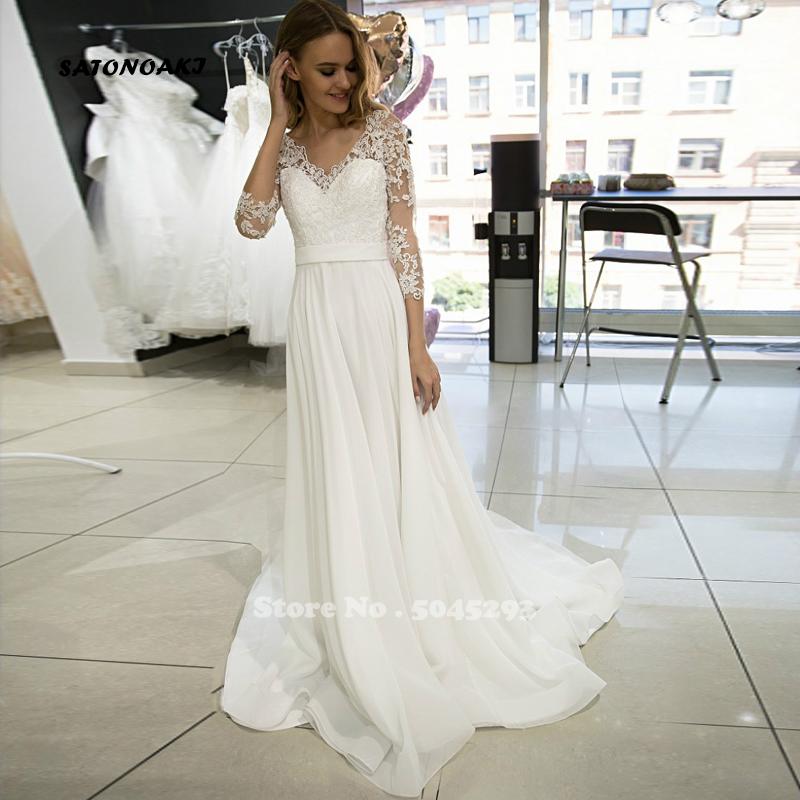 SATONOAKI White Ivory Wedding Dresses Long Sleeves V-neck Chiffon Beach Boho Wedding Gowns for Bride Back Zipper with Buttons