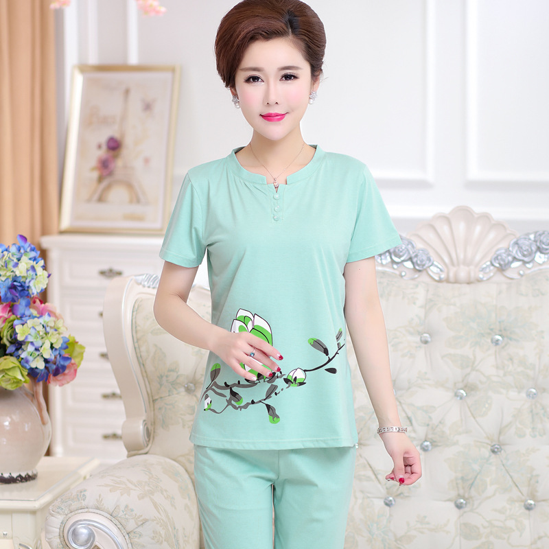 Peach Scent Middle-aged Mom Pajamas Women's Summer Pure Cotton Middle Aged And Elderly People Loose Thin Plus-sized Pajamas
