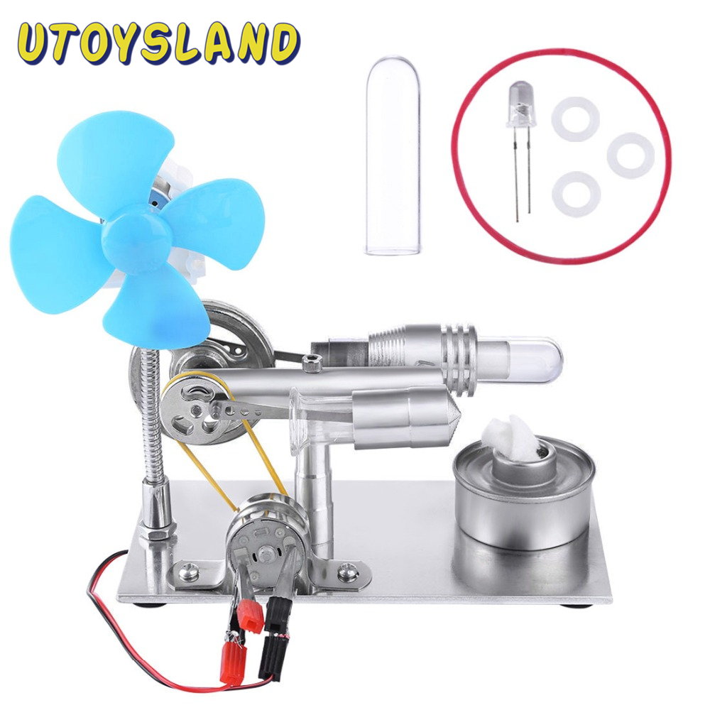 Single Cylinder Stirling Engine Model With Bulb And Fan Discovery Educational Toy Gift For Kid Children Adult -Random Bulb Color