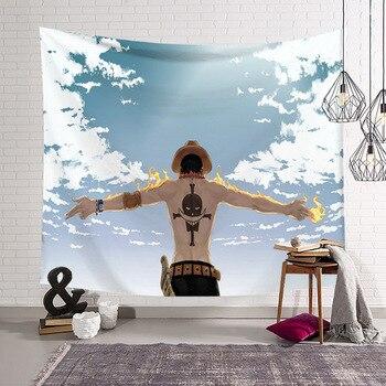 Patrón de personaje de una pieza divertido tapiz de manta de dibujos animados 3D impreso Tapestrying decoración de pared estilo colgante Rectangular para el hogar-3