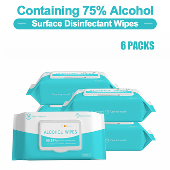 50Pcs/ Pack 75% Alcohol Wet Wipes Disposable Hands Wipes Disinfect Wet Towel Wet Wipe for Household Daily Protection