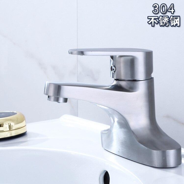 Bassin deux Couplets 304 en acier inoxydable Diplopore vieux robinet de bassin froid robinet de comptoir Bivalent vente directe en gros
