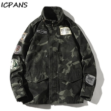 ICPANS Winter Jackets Men Stand Collar Camo Camouflage Denim Jacket Men Tracksuit Coat Men Hip Hop Streetwear Pockets Outwear men pockets denim jacket