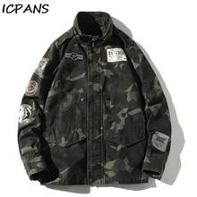 купить ICPANS Winter Jackets Men Stand Collar Camo Camouflage Denim Jacket Men Tracksuit Coat Men Hip Hop Streetwear Pockets Outwear по цене 2731.6 рублей