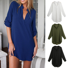 Blouse White Shirts Pockets Top Woman Long-Sleeves Loose Spring Summer V-Neck Plus-Size