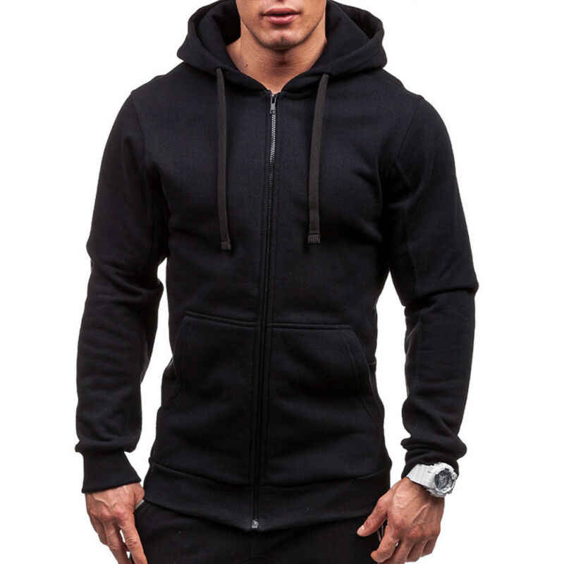 Meihuida Autumn Men Casual  Solid Zip Up Warm Pocket Cotton Breathablity Hoodie Hoodies Sweatshirt Jacket Coat Top Tops
