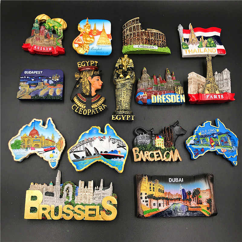 Magnets Sticker For Refrigerator Hungary Dubai Thailand Poland Egypt Italy Australia Spain Belgium Resin Fridge Magnet souvenir