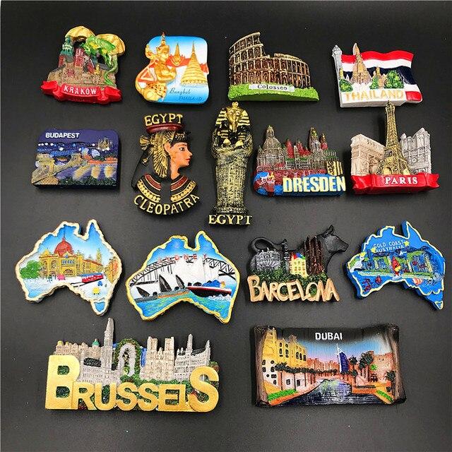 مغناطيس ملصق للثلاجة المجر دبي تايلاند بولندا مصر إيطاليا أستراليا إسبانيا بلجيكا مغناطيس ثلاجة معالج بالراتنج تذكارية