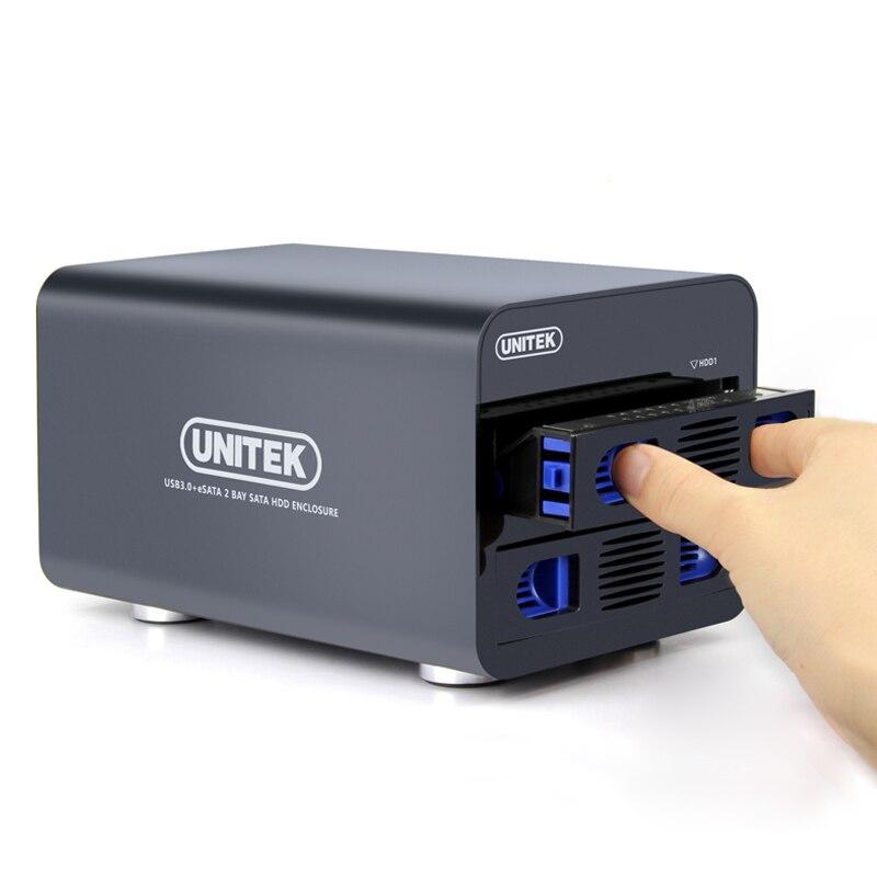 """Carcasa de disco duro USB3.0 ESATA a SATA3.0, 2 Bay, RAID 0/1/grande/Normal, compatible con disco duro SATA de 2,5 """"o 3,5"""""""