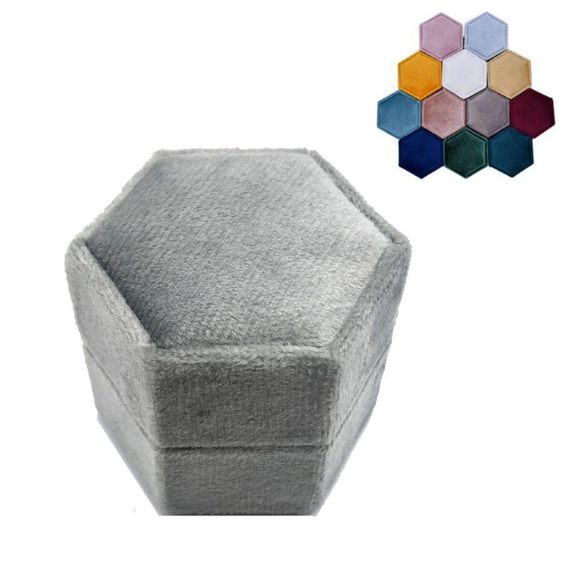 Hexagon Velvet Ring Box Single Ring Display Holder with Detachable Lid Ring Box Holder for Valentine's Day(IS47)