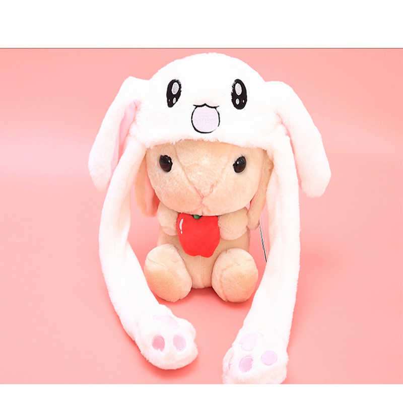 Cartoon Hats Moving Ears Cute Rabbit Toy Hat Airbag Kawaii Funny Hat for Girls Cap Kids Plush Toy Christmas Gift