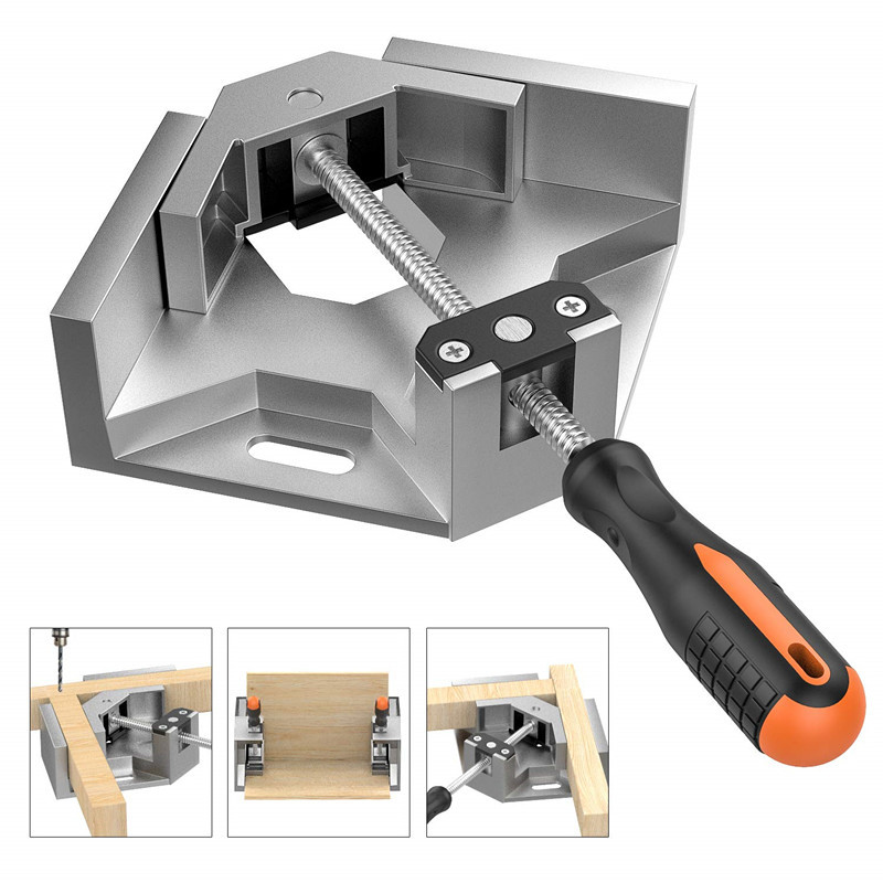 Aluminum Single Handle 90 Degree Right Angle Clamp Angle Clamp Woodworking Frame Clip Right Angle Folder Hand Tool