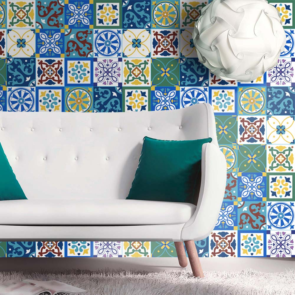 Self-adhesive Moroccan Tile Wall Sticker PVC Oil-proof Waterproof For Home Living Room Bedroom Kitchen Bathroom 60x200cm