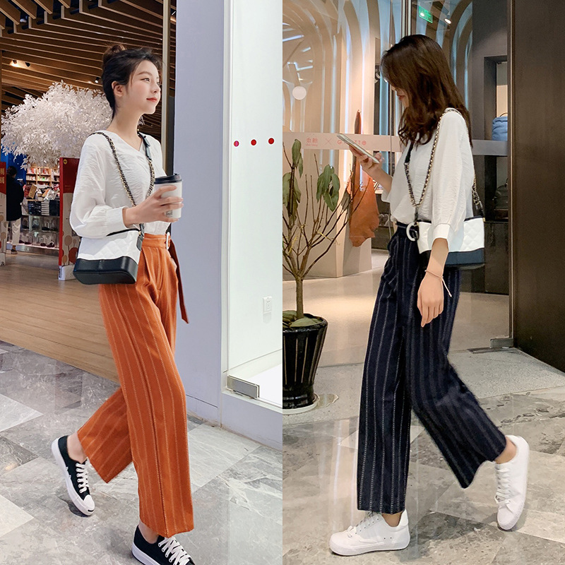 PRE-SALE Spring New Style Set V-neck Ninth Sleeve Tops + Casual Stripes Loose Pants Two-Piece Set F5847