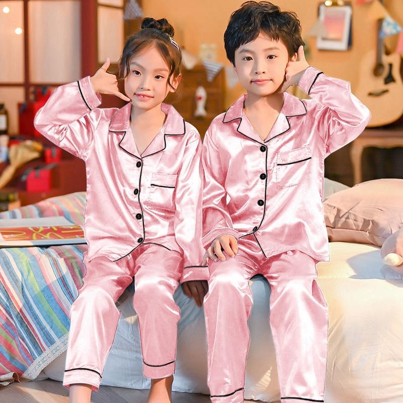 Childrens Kids Pyjamas Silk Satin Tops Pant Autumn Winter Long Sleeve  Sleepwear Nightwear Girls Boys Pajama Sets Teen Pajamas-Leather bag