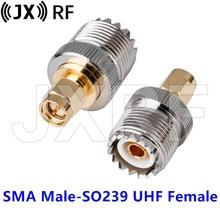 2 szt SMA męski wtyk do SO239 UHF żeńskie gniazdo PL259 żeńskie złącze adaptera RF do radia tanie tanio CN (pochodzenie) SMA-SO239