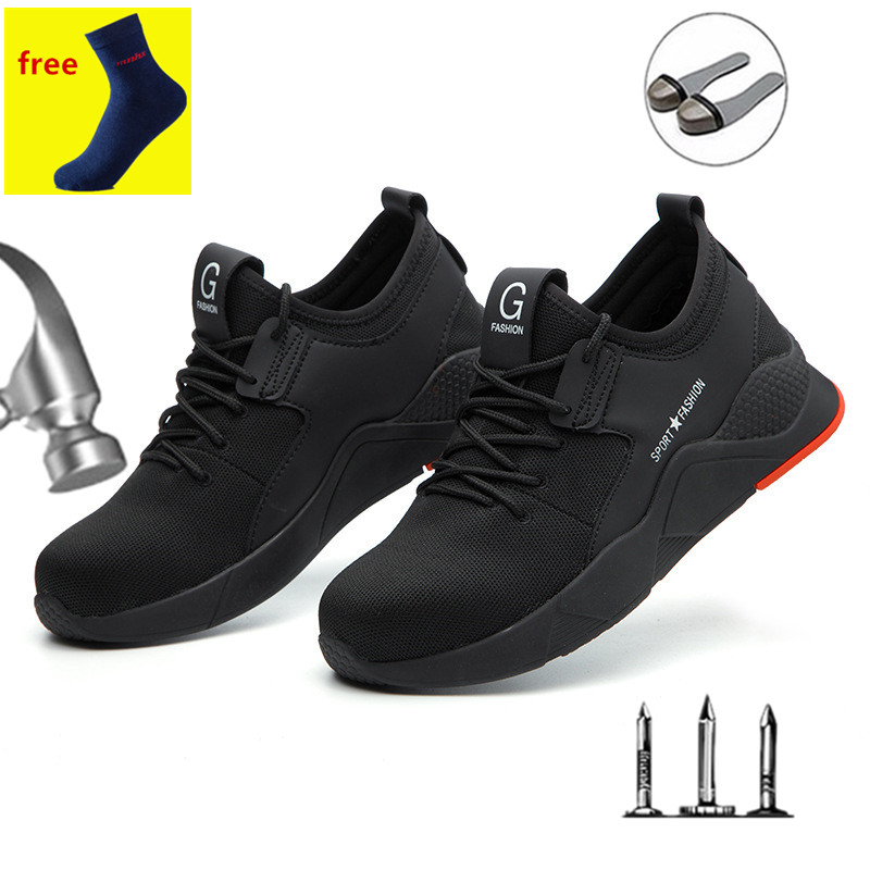 Safety Work Shoes Men's Boots Light Steel Head Work Boots Men's Anti-collision Construction Safety Sports Shoes Site Breathable