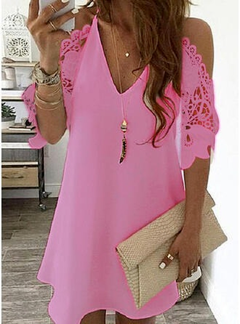 Women's Lace Splicing Dress V-neck Off Shoulder Sling Mini Dress Solid Color Casual  Hollow out Sleeve Dress 6