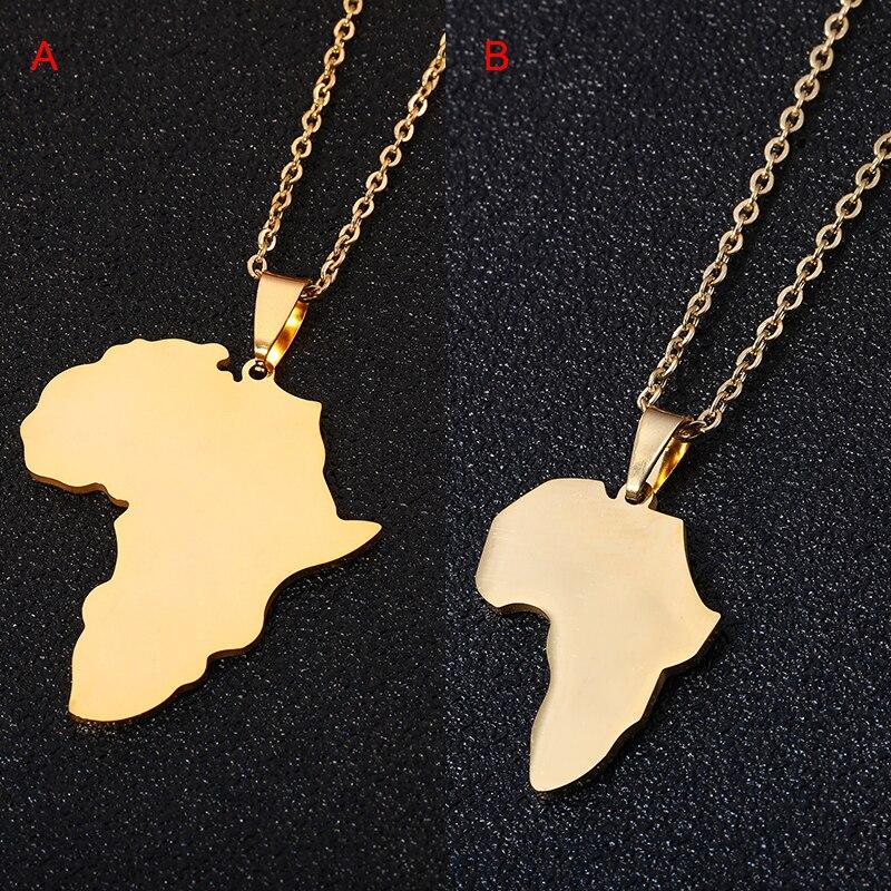 Модное ожерелье с подвеской в виде Африканской карты для мужчин и женщин, нержавеющая сталь, золотой цвет, карта, ювелирные изделия, подарок