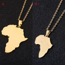 Moda venda mapa africano pingente colares masculino & feminino aço inoxidável cor ouro mapa jóias presente