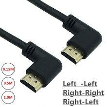 Lewy i prawy kątowy HDMI 2.0 męski na HDMI prawy lewy łokieć męski przedłużacz kabel 15cm 50cm 1 m, HDMI 2.0V kąt kabel 4K * 2K @ 60HZ
