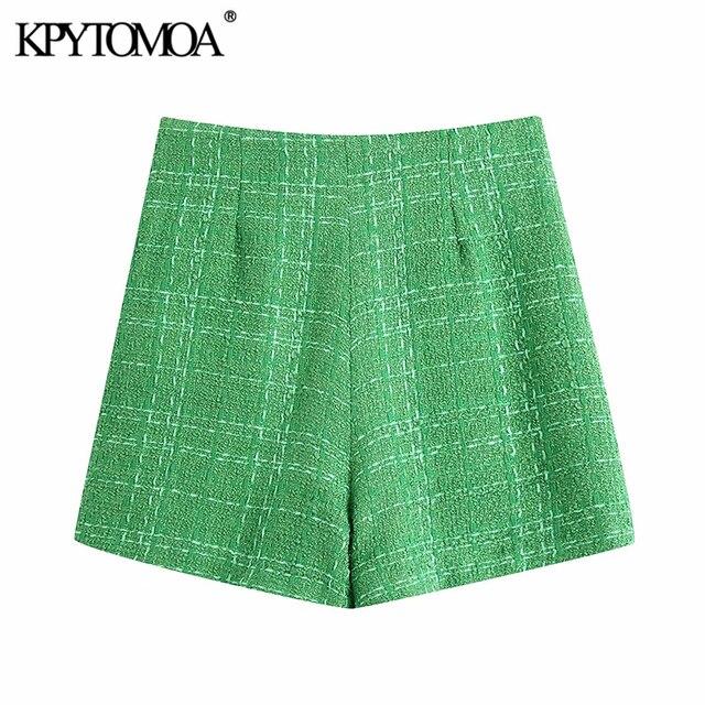 KPYTOMOA Women 2021 Chic Fashion With Lining Tweed Shorts Vintage High Waist Back Zipper Female Short Pants Mujer 2
