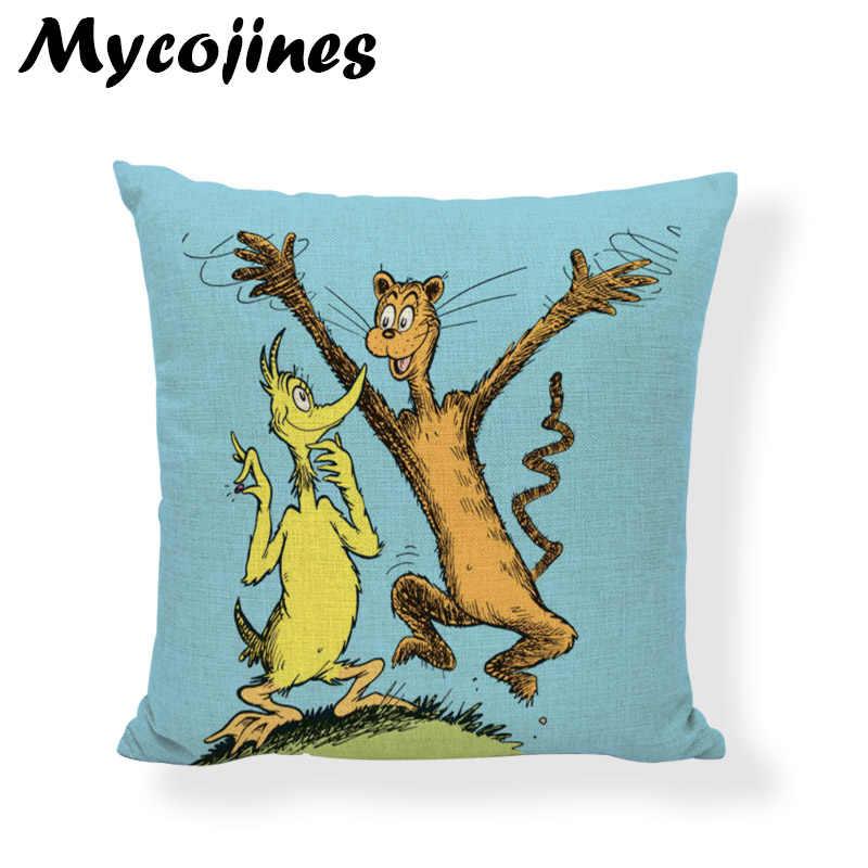 คุณภาพสูงน่ารักสไตล์ Dr. Seuss ปลอกหมอนสัตว์ปลาเป็ดสุนัขห้องนั่งเล่นโซฟาหน้าแรกตกแต่งผ้าลินิน