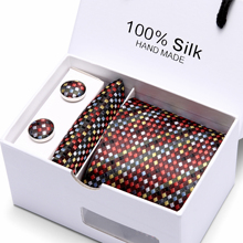 цена на Classic  7.5cm Plaid  Tie Man Wedding Tie  Jacquard  Men Tie, Handkerchief,  Cufflinks Gift Box Packaging